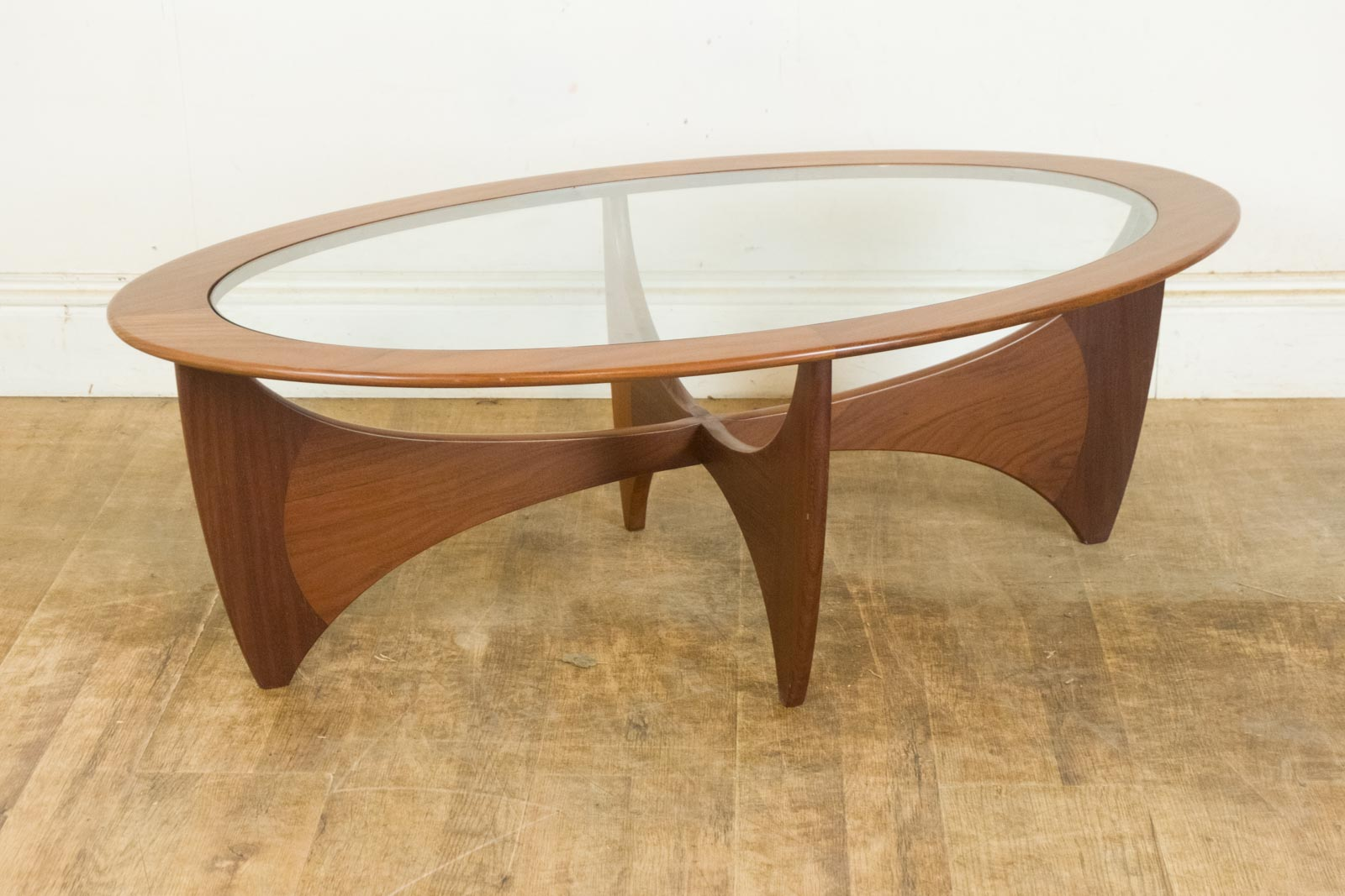 Vintage Retro G Plan Teak And Glass Astro Oval Coffee Table Ebay
