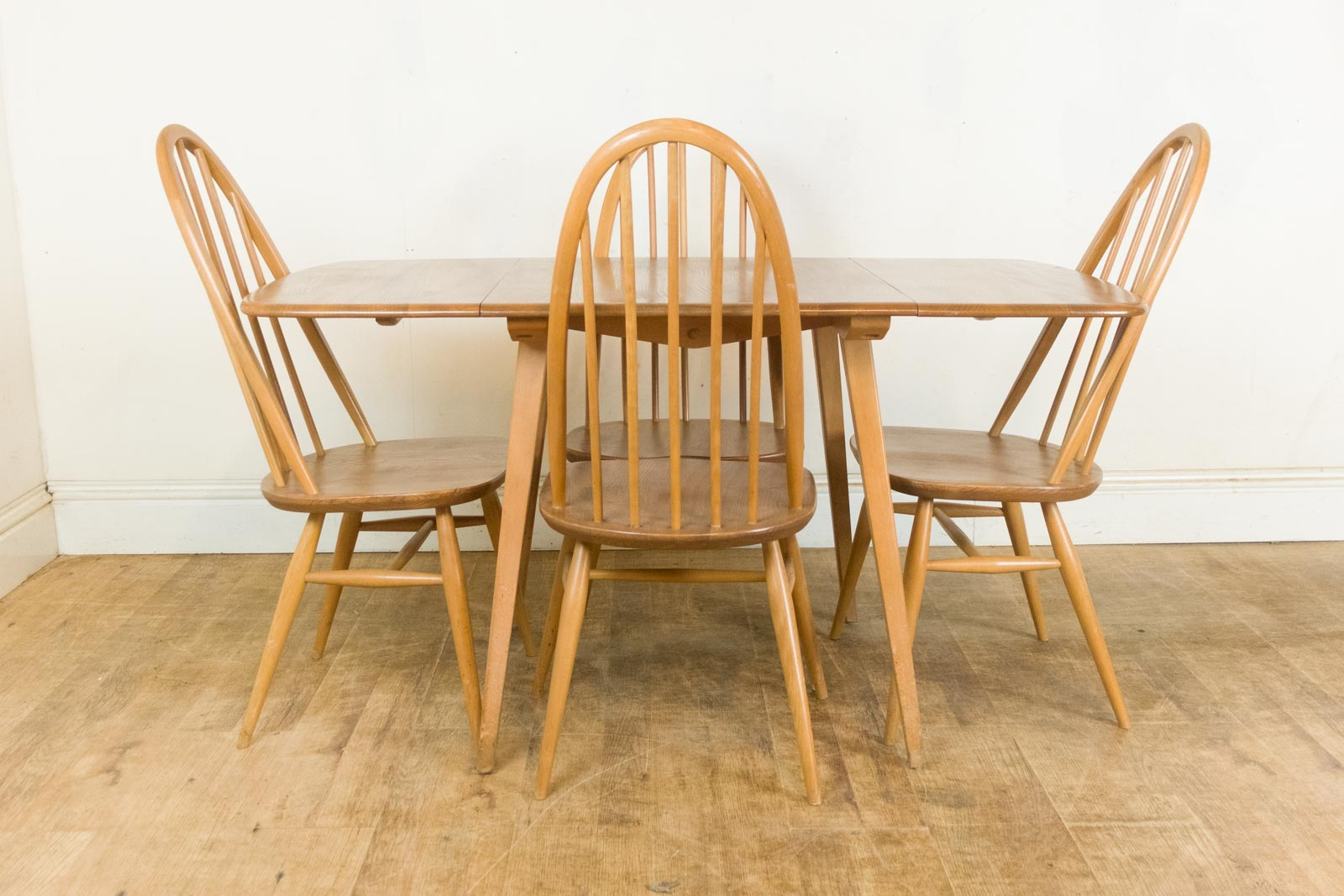 Vintage retro ercol light elm rectangular drop leaf table and 4 quaker chairs ebay - Drop leaf table and chairs uk ...