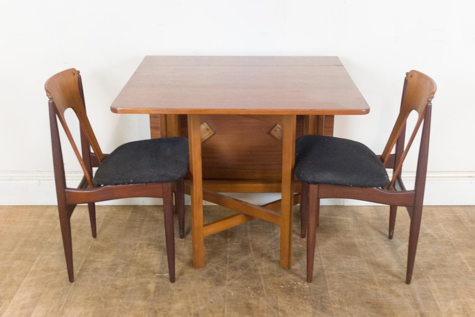 vintage retro teak drop leaf dining table and 2 eon chairs. Black Bedroom Furniture Sets. Home Design Ideas