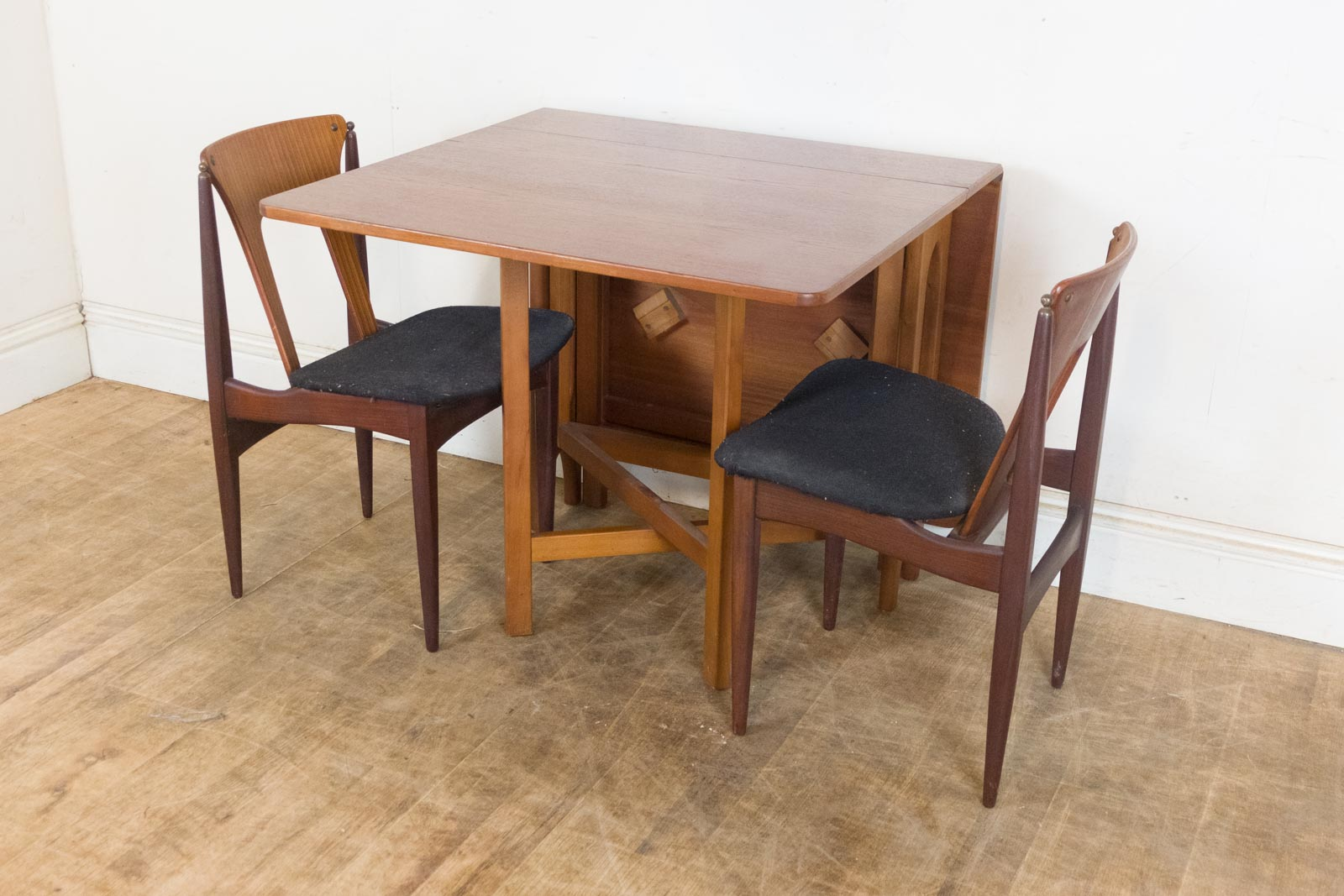 Vintage Retro Teak Drop Leaf Dining Table And 2 EON Chairs