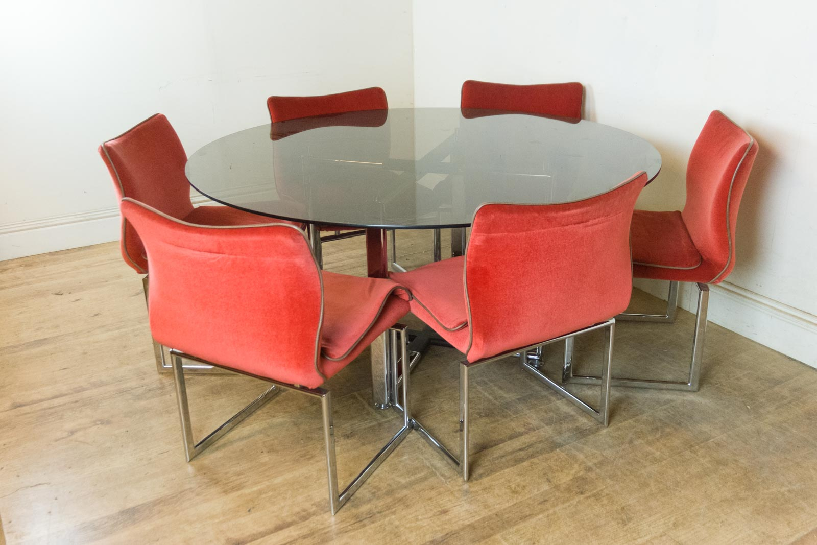 Vintage Retro Pieff Glass And Chrome Dining Table And 6