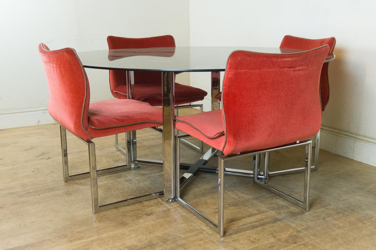 vintage retro pieff glass and chrome dining table and 6 chairs immaculate ebay. Black Bedroom Furniture Sets. Home Design Ideas