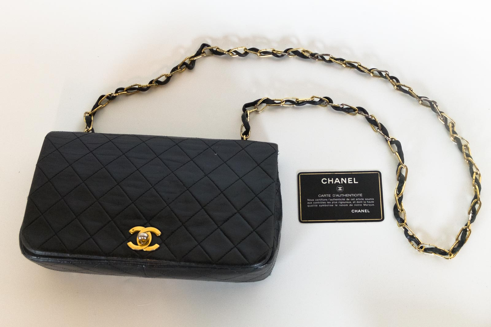 da499b598788 Details about CHANEL Vintage Black Classic Lambskin Quilted Full Flap  Shoulder Bag Handbag