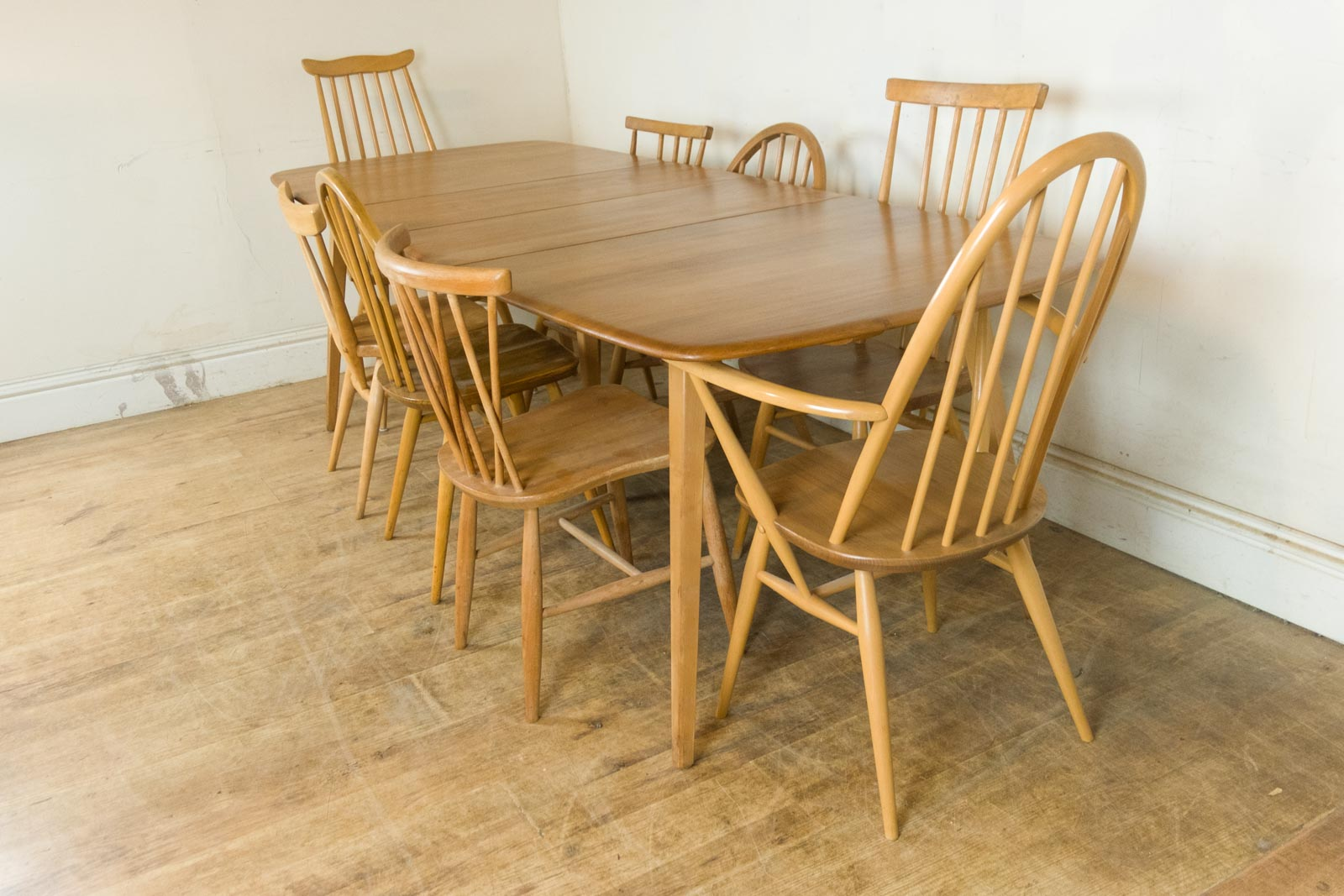 Vintage Retro Ercol Blonde Grand Extending Table And 8 Mixed Chairs Ebay
