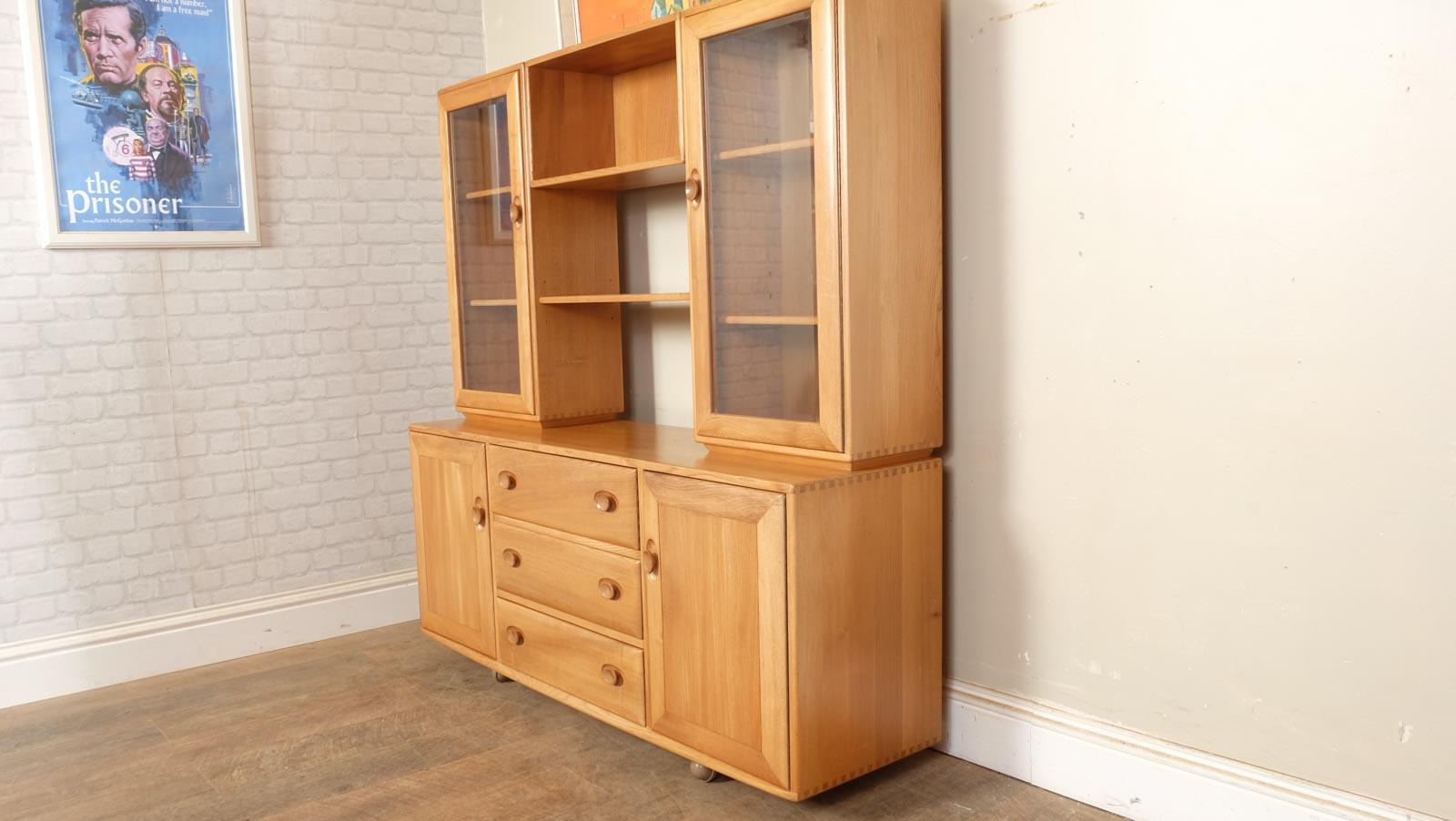 Ercol Light Elm Sideboard Display Cabinet